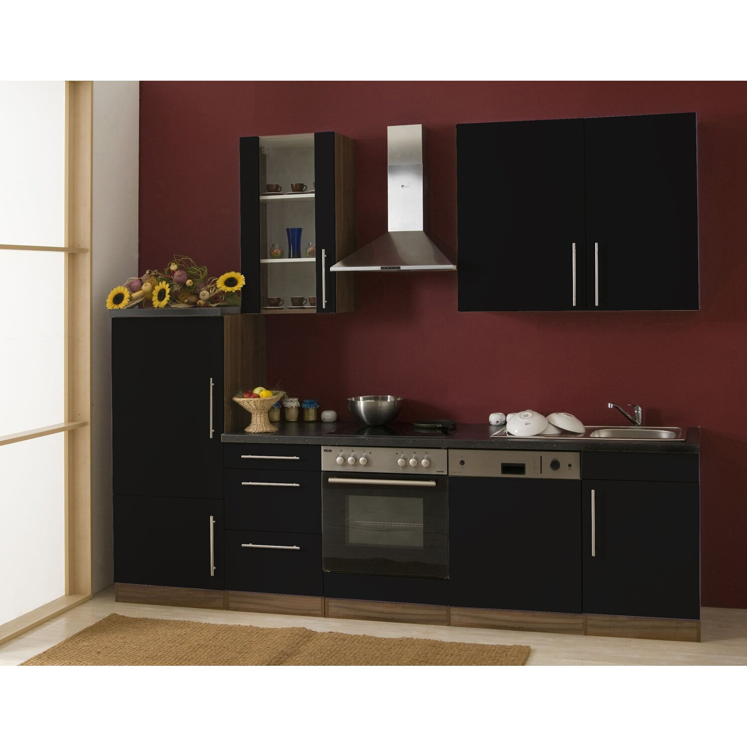 mebasa k chenzeile cucina 280 cm komplett mit ger ten schwarz kaufen bei obi. Black Bedroom Furniture Sets. Home Design Ideas