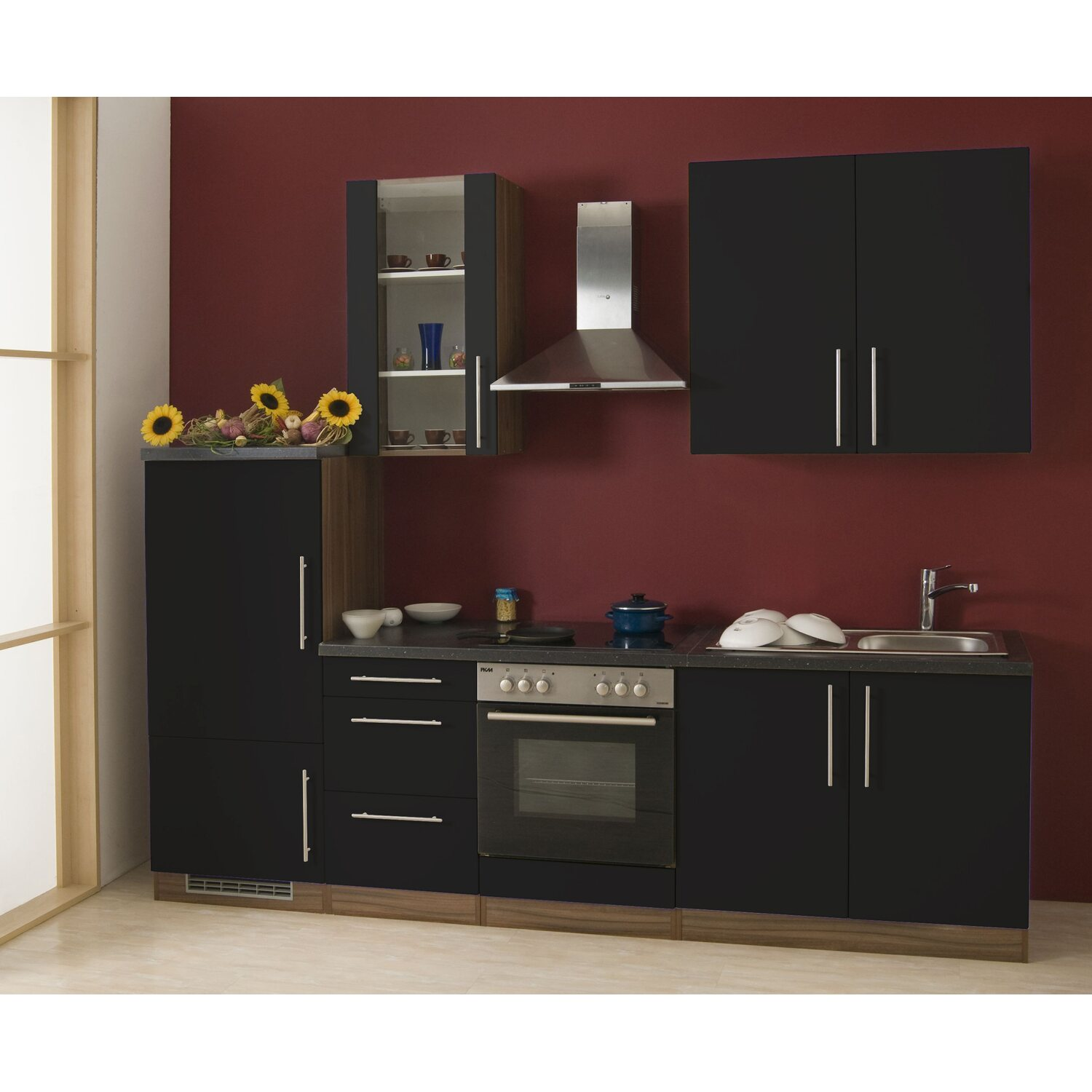 mebasa k chenzeile cucina 270 cm komplett mit ger ten grau kaufen bei obi. Black Bedroom Furniture Sets. Home Design Ideas