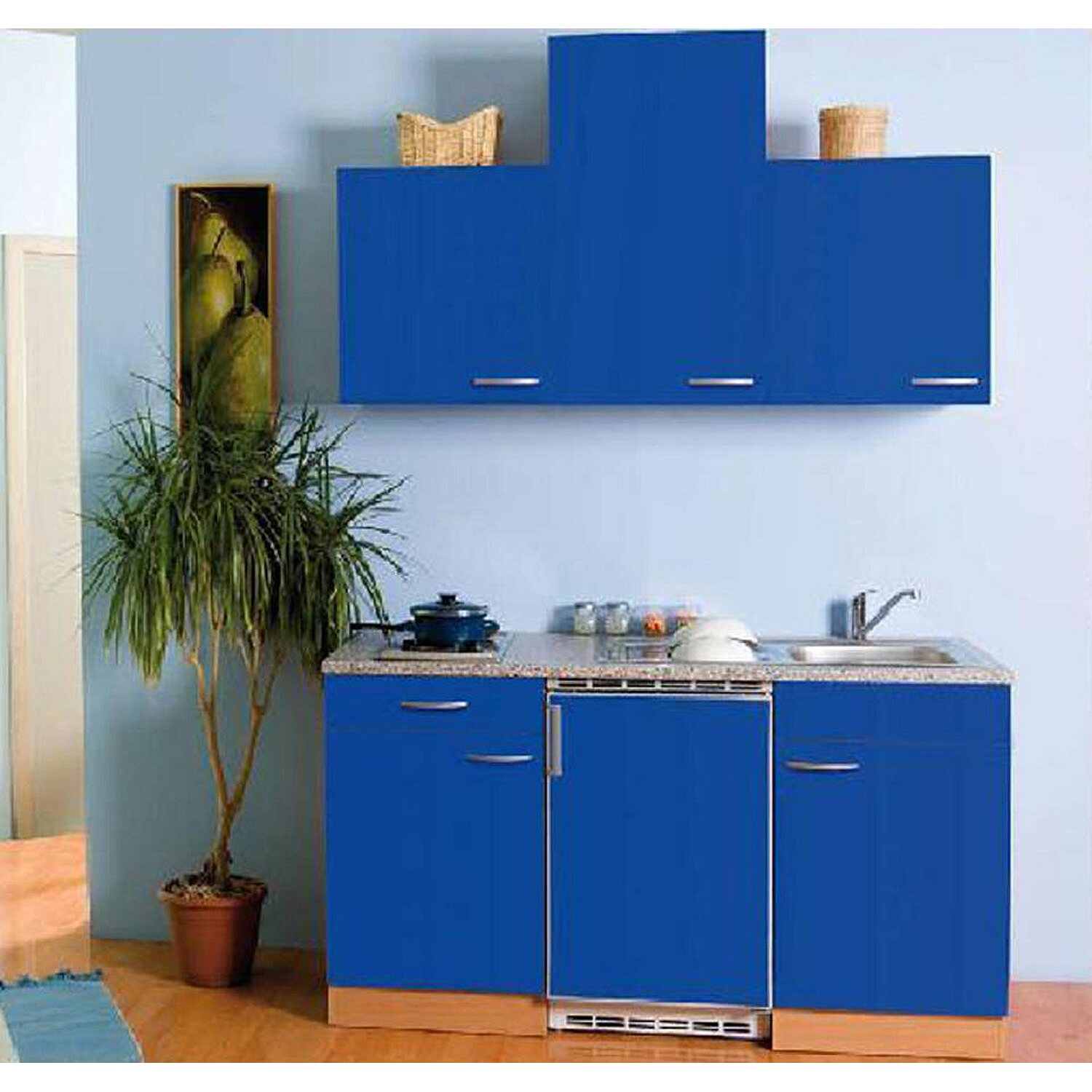 mebasa k chenblock 150 cm mit hochschrank blau kaufen bei obi. Black Bedroom Furniture Sets. Home Design Ideas