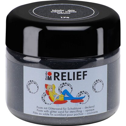 Marabu Relief Paste mit Glittersand deckend 225 ml Schiefer