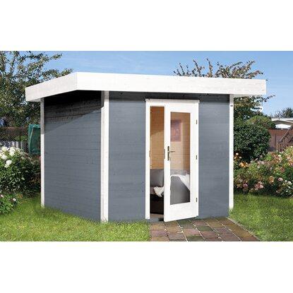 obi holz gartenhaus florenz a gr e 1 grau wei 235 cm x. Black Bedroom Furniture Sets. Home Design Ideas