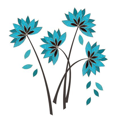 Eurographics Wandtattoo Teal Lotus Flowers