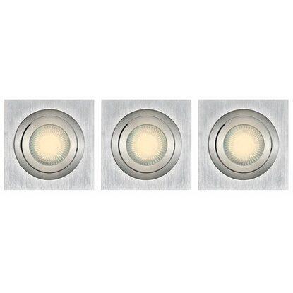 Obi halogen einbauleuchten 3er set aluminium eckig eek b for Halogen einbauleuchten