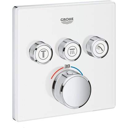 Grohe Thermostat Grohtherm SmartControl mit 3 Absperrventilen Moon White eckig