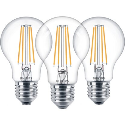 Philips LED-Lampe Filament 3er-Pack E27/7 W Ersatz für 60 W Warmweiß EEK: A++