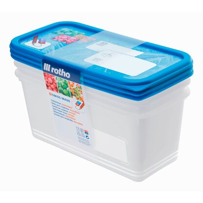 Rotho Gefrierdose Domino Royalblau 3er-Set 1,5 l