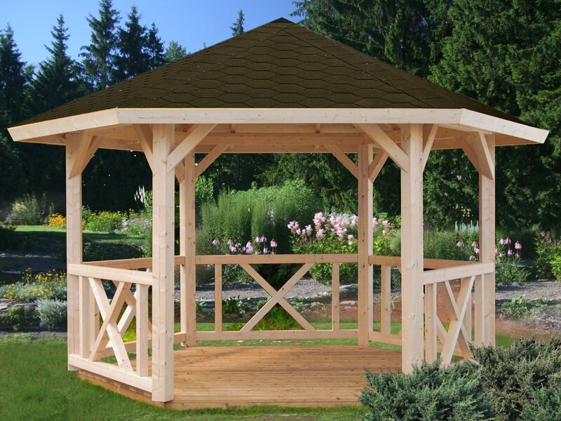 Pavillon Garten.Palmako Holz Pavillon Betty Natur Unbehandelt 337 Cm X 423 Cm Ohne Fußboden