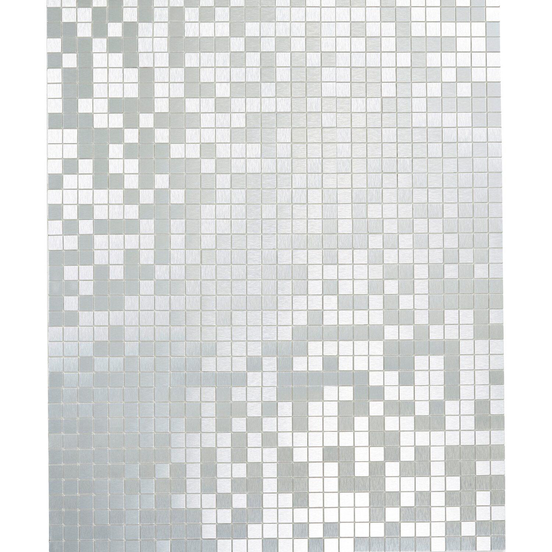 Mosaikmatte Selbstklebend Alu Gebürstet Silber 29 Cm X 29 Cm