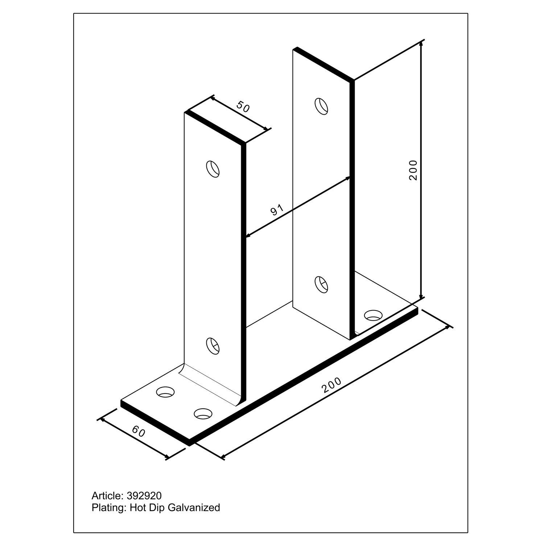 pfostenlasche u form zum aufschrauben 200 mm x 91 mm x 60. Black Bedroom Furniture Sets. Home Design Ideas