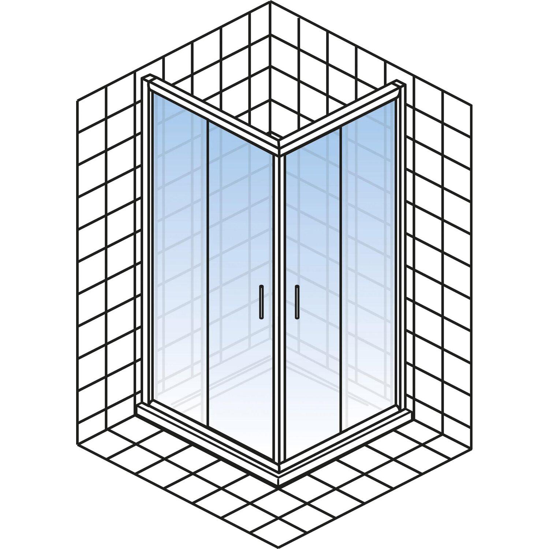 Schulte Kristall Trend Eckeinstieg Ii 90 Cm Echtglas Chrom Optik