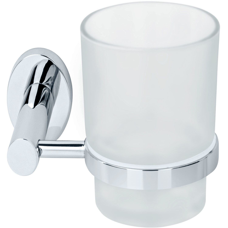 Fackelmann Glas mit Halterung Taris Chrom