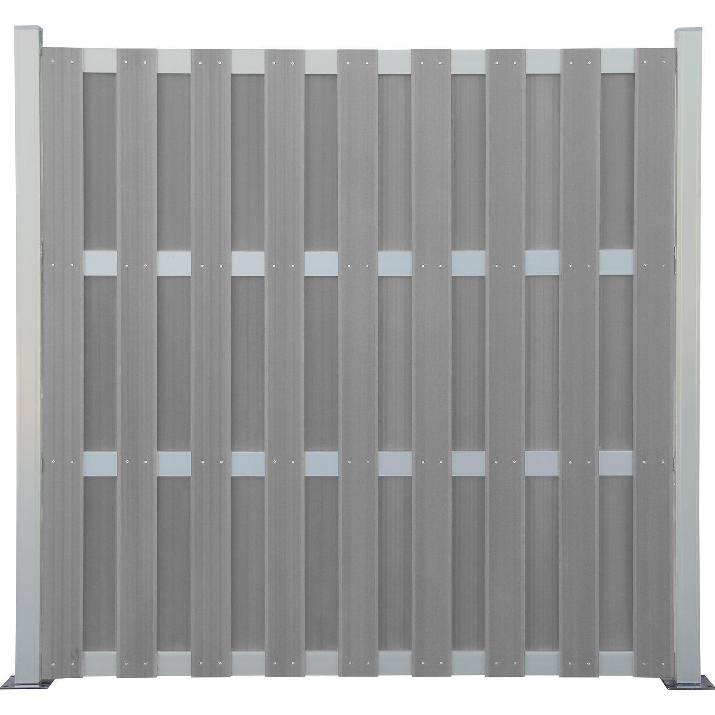 Sichtschutzzaun Element Wpc Alu Hellgrau 180 Cm X 180 Cm Kaufen