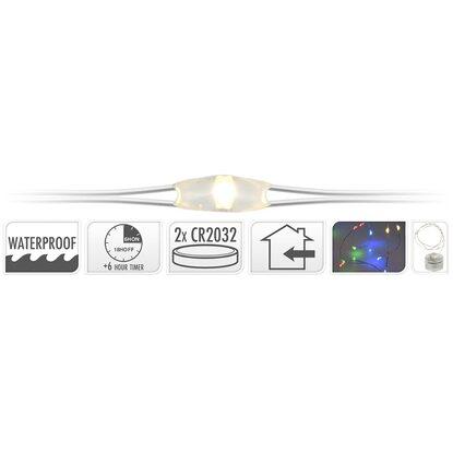 led lichterkette 20 bunte leds silberdraht mit timer innen und au en kaufen bei obi. Black Bedroom Furniture Sets. Home Design Ideas