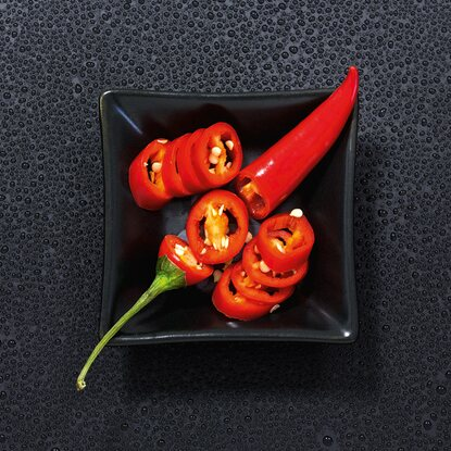 Eurographics Glasbild Chilli Interplay 20 cm x 20 cm
