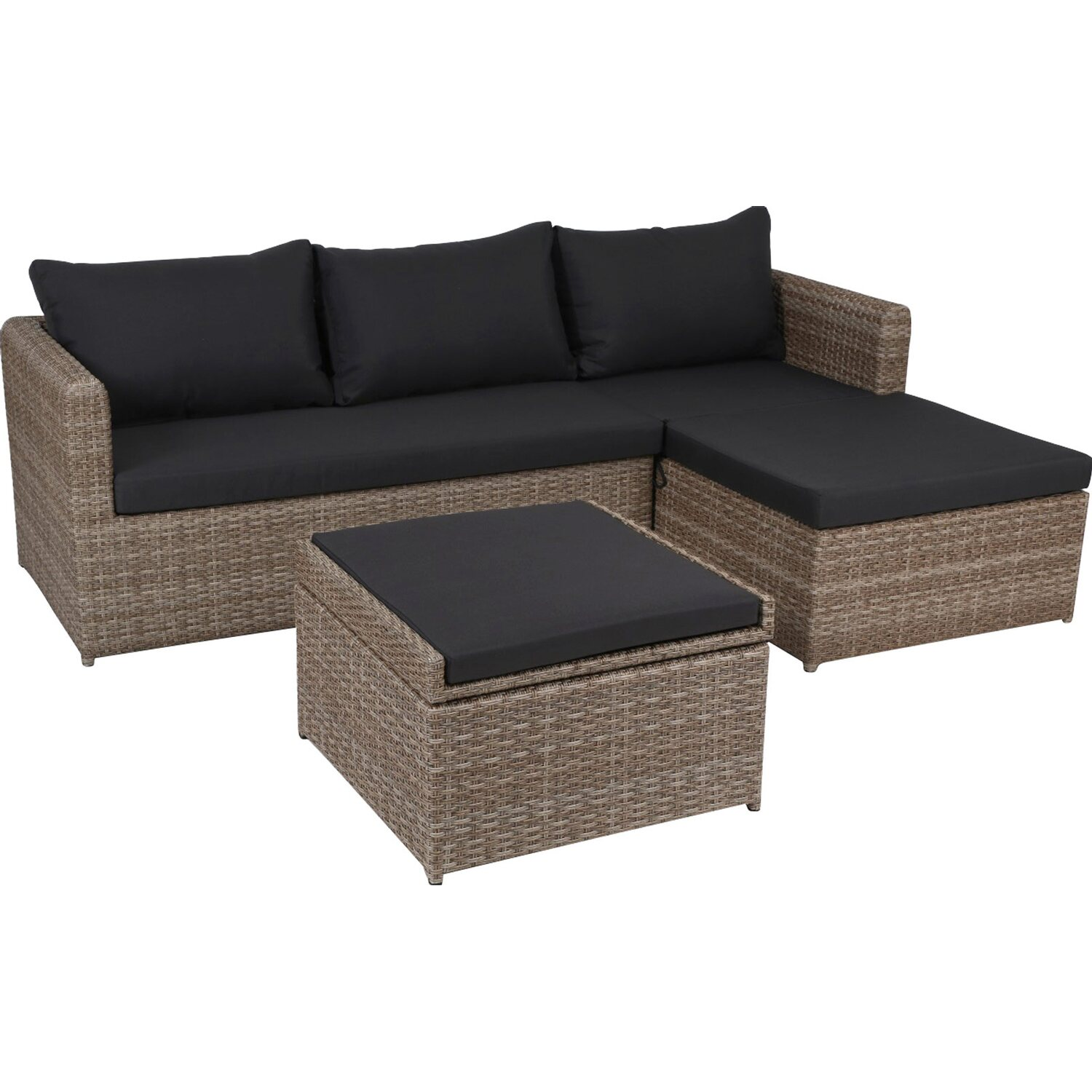 Greemotion garten lounge set louisville polyrattan braun 3 for Lounge gartenmobel rattan