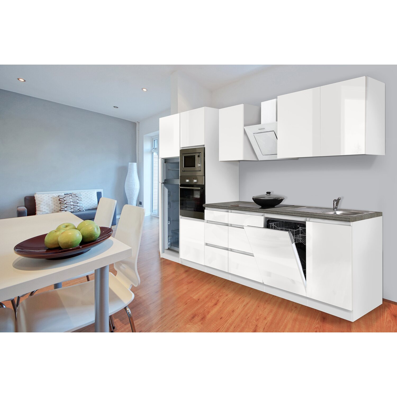 Respekta Premium Küchenzeile Grifflos 345 cm Weiß Hochglanz-Weiß ...