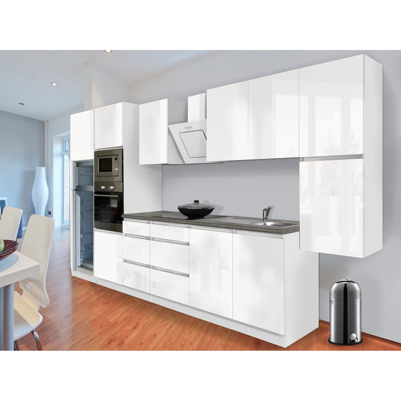 respekta premium k chenzeile grifflos 385 cm wei hochglanz wei kaufen bei obi. Black Bedroom Furniture Sets. Home Design Ideas