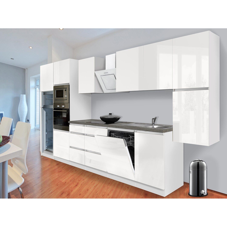 respekta premium k chenzeile grifflos 395 cm wei. Black Bedroom Furniture Sets. Home Design Ideas