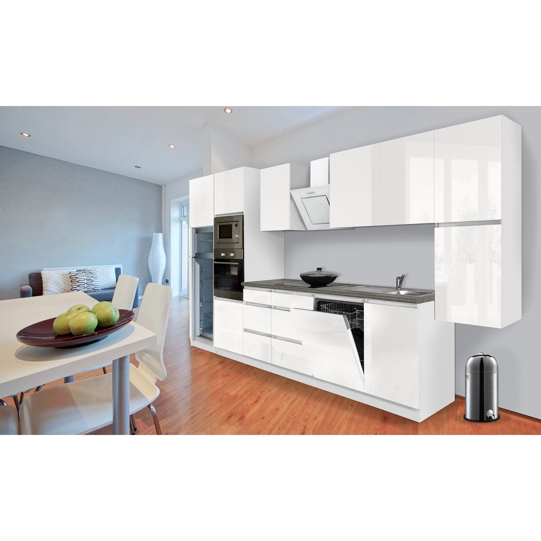 Respekta Premium Küchenzeile Grifflos 395 cm Weiß Hochglanz-Weiß ...