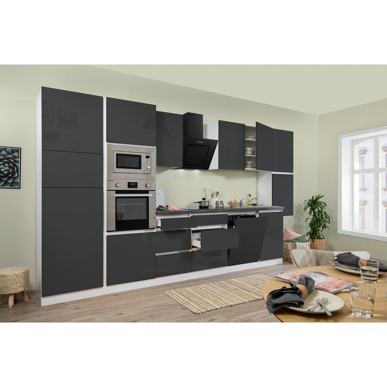 respekta premium k chenzeile grifflos 395 cm grau hochglanz wei kaufen bei obi. Black Bedroom Furniture Sets. Home Design Ideas