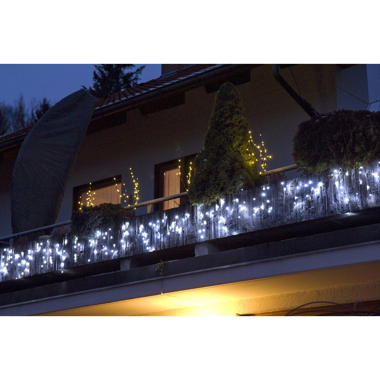 Takasho LED Lichtervorhang Transparent 120 LED Kaltweiß