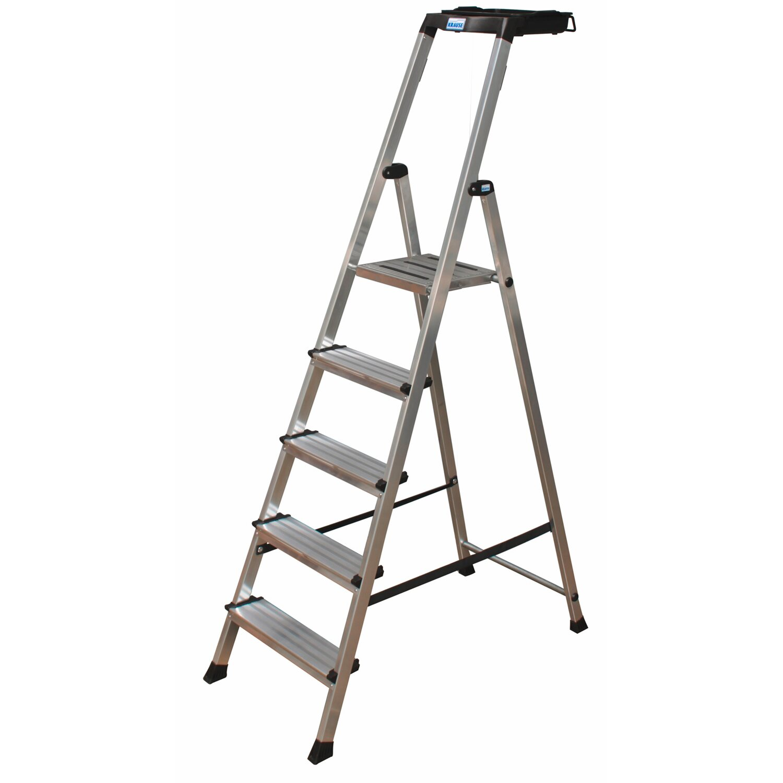 krause secury stufen-steh-leiter 5 stufen mit multigrip-system
