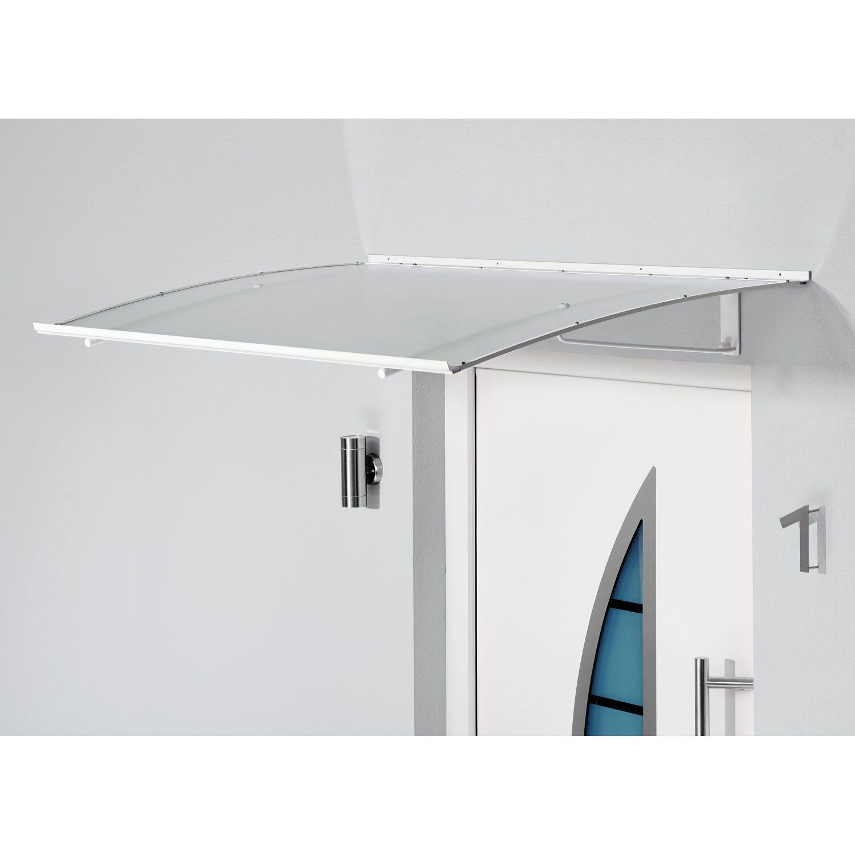 Haustürvordach 140 x 80 cm mit Echtglas Gutta Edelstahlvordach HD 140