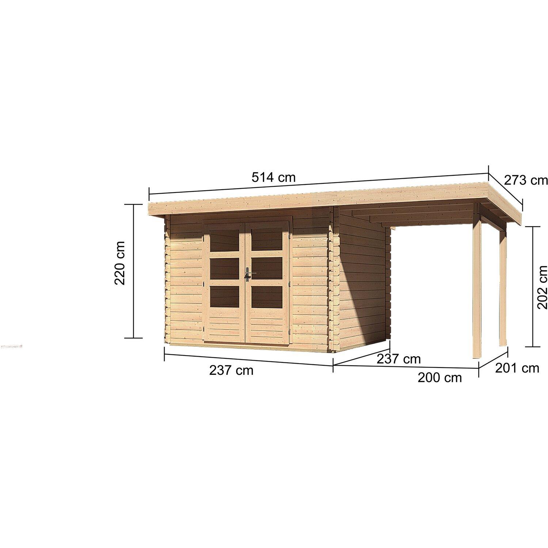 karibu holz gartenhaus ngelholm 3 natur set bxt 480x220. Black Bedroom Furniture Sets. Home Design Ideas