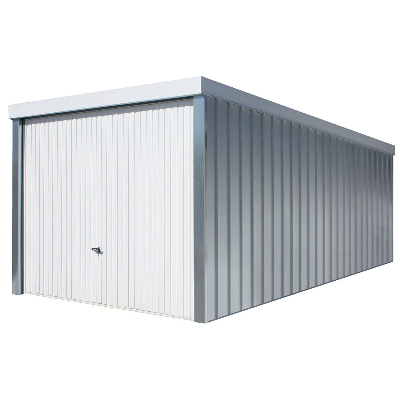 Fertiggarage maße  Fertiggarage aus Stahl verzinkt Weiß 234 cm x 255 cm x 586 cm ...