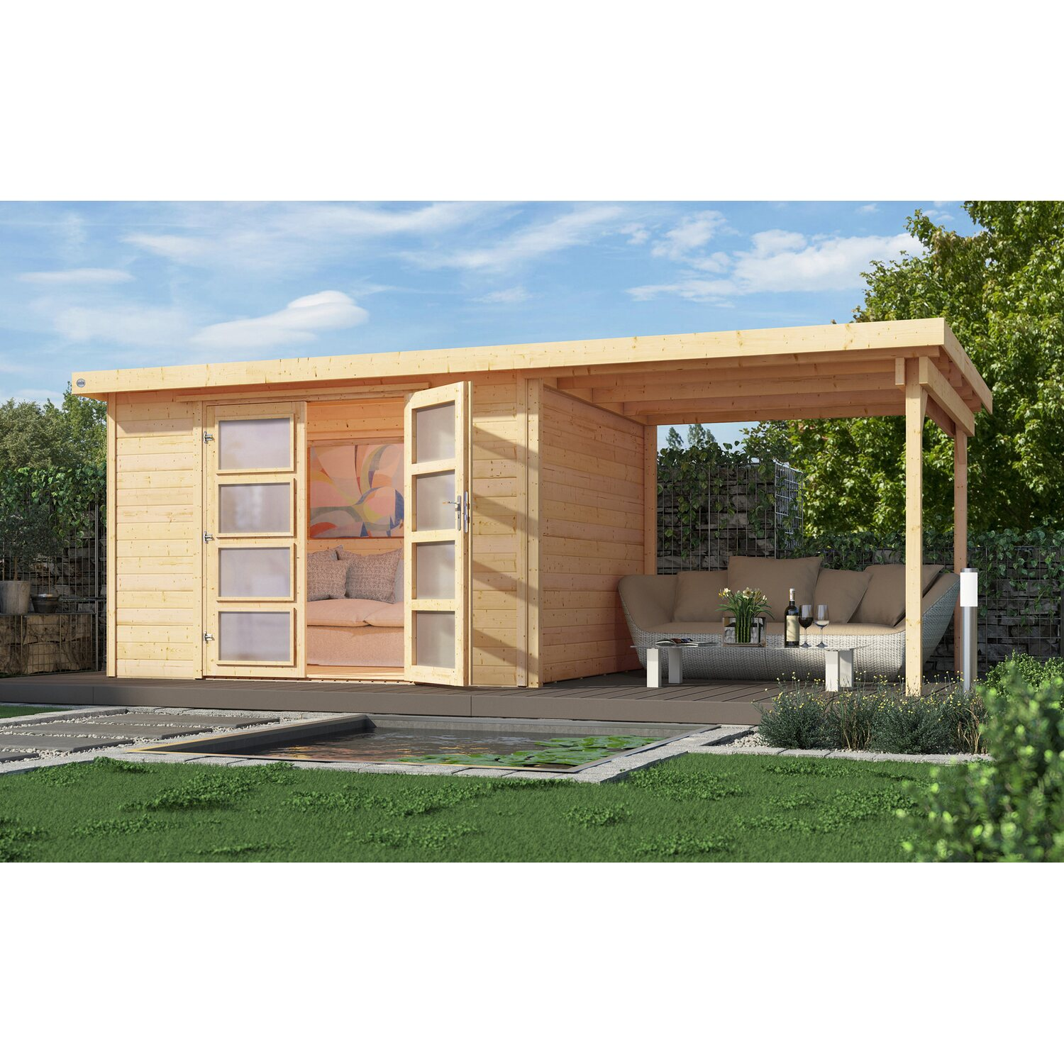 weka holz gartenhaus pesaro c natur 529 cm x 250 cm mit. Black Bedroom Furniture Sets. Home Design Ideas