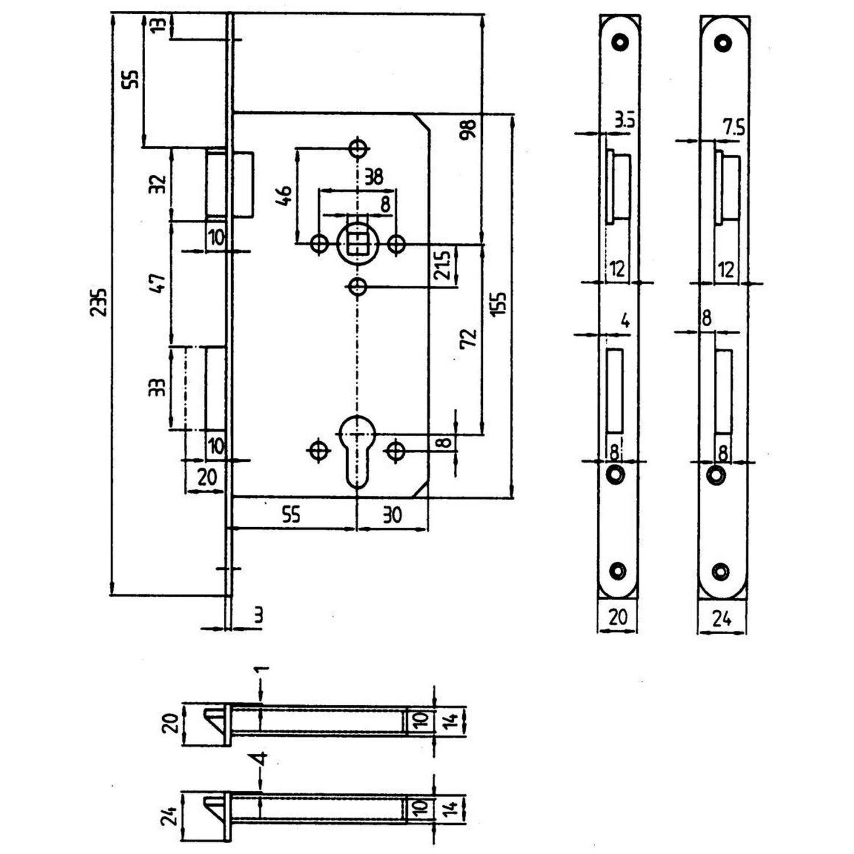 Bever Korridor-Sicherheitsschloss für Profilzylinder gefälzt DIN links Edelstahl