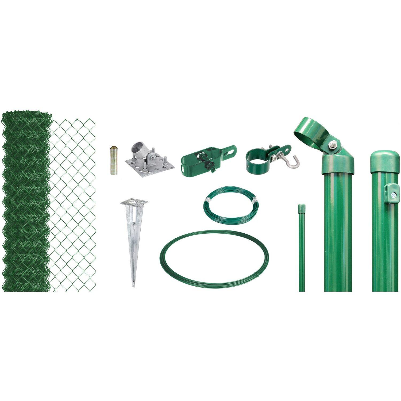 Maschendraht-Zaun-Set 80 cm Hoch 25 m Länge Grün für Einschlagbodenhülsen Preisvergleich