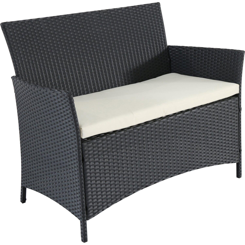 polyrattan geflecht 2 sitzer bank schwarz kaufen bei obi. Black Bedroom Furniture Sets. Home Design Ideas