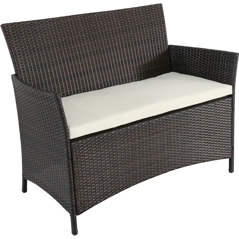 kunststoff rattan geflecht 2 sitzer bank braun kaufen bei obi. Black Bedroom Furniture Sets. Home Design Ideas