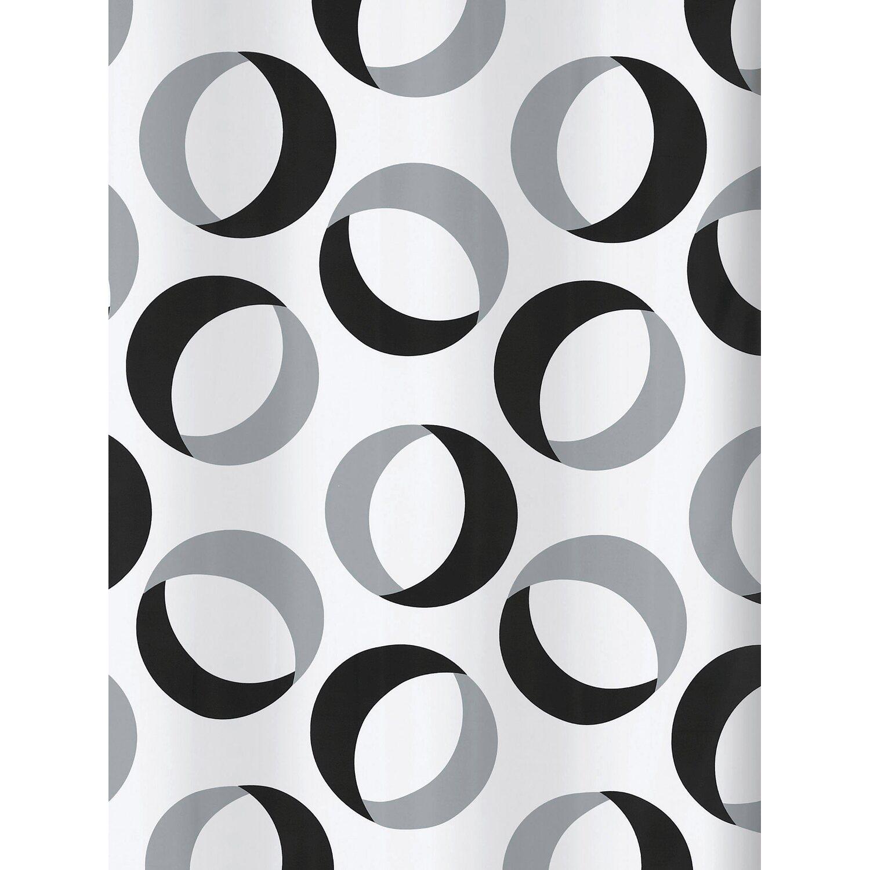 spirella duschvorhang textil rings 180 cm x 200 cm grey black kaufen bei obi. Black Bedroom Furniture Sets. Home Design Ideas