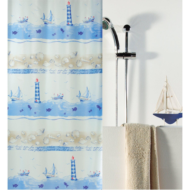 spirella duschvorhang textil nave 180 cm x 200 cm ciel kaufen bei obi. Black Bedroom Furniture Sets. Home Design Ideas