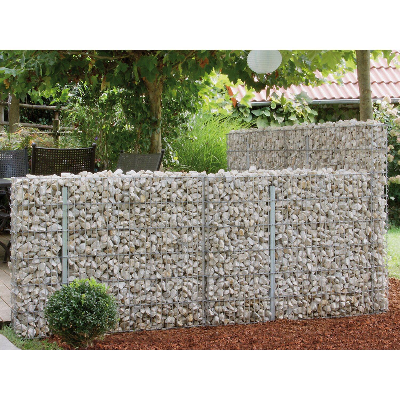 Bellissa Gabionen-Mauer Limes 100 cm x 12 cm x 60 cm mit Kalkstein-Fülllung