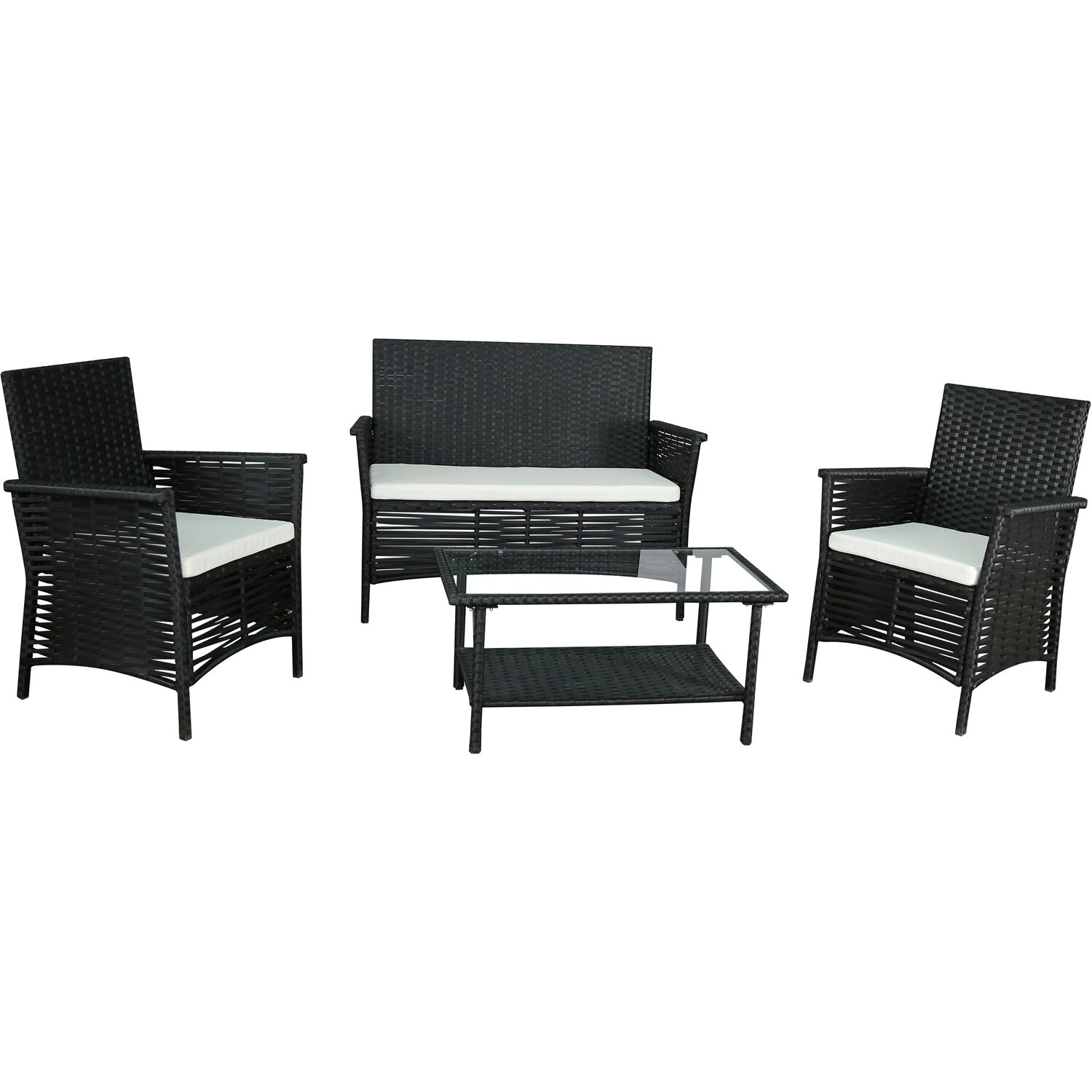 gartenfreude sitzgruppe polyrattan 7 tlg schwarz kaufen. Black Bedroom Furniture Sets. Home Design Ideas