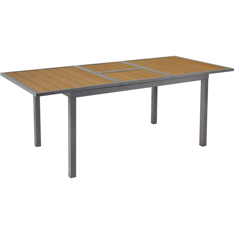 Gartenfreude  Aluminium Tisch ausziehbar 147/200 cm x 90 cm Teakfarben