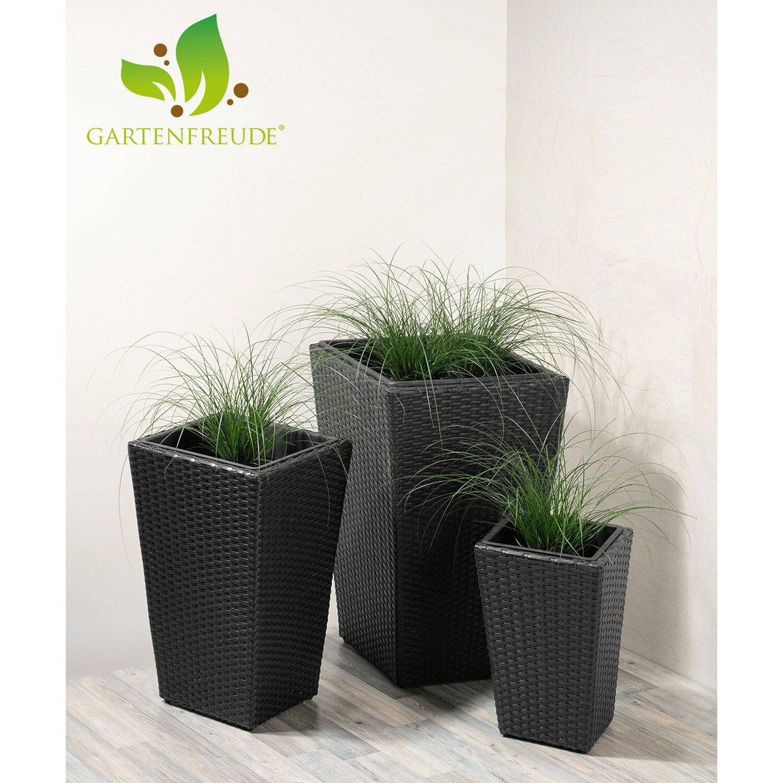 gartenfreude pflanzk bel polyrattan schwarz gr e xl 3er set kaufen bei obi. Black Bedroom Furniture Sets. Home Design Ideas