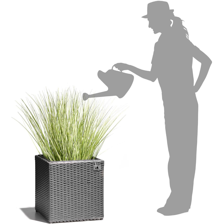 Gartenfreude Pflanzkübel Polyrattan 36 cm x 36 cm Grau kaufen bei OBI