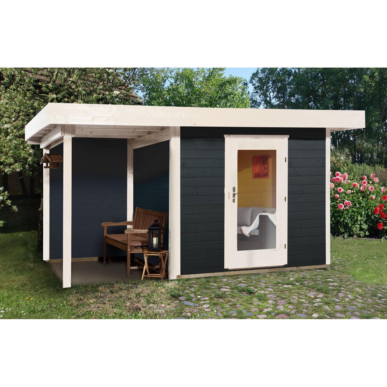 OBI Holz Gartenhaus Florenz B Gr. 2 Anthrazit Weiß BxT 385x240