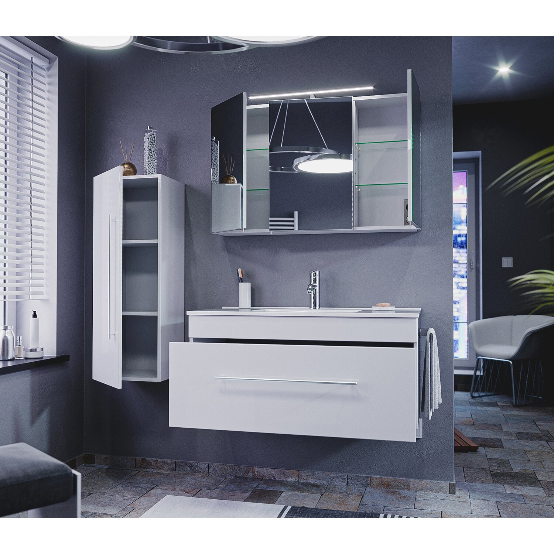 emotion badm bel komplett set pro 100 cm wei hochglanz 9 teilig eek a kaufen bei obi. Black Bedroom Furniture Sets. Home Design Ideas