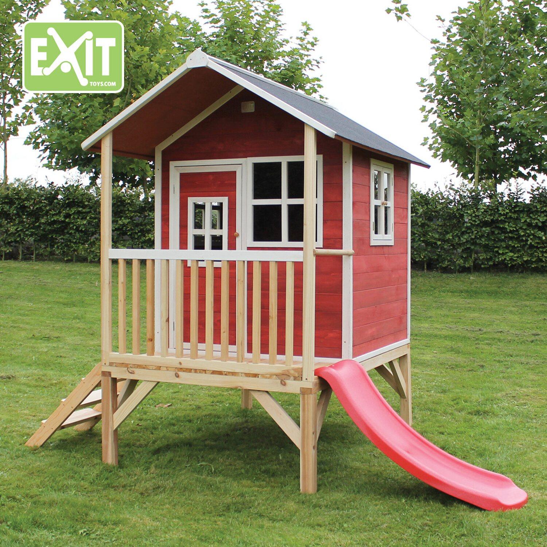 Exit Stelzen Spielhaus Loft 300 Rot Mit Rutsche Kaufen Bei Obi