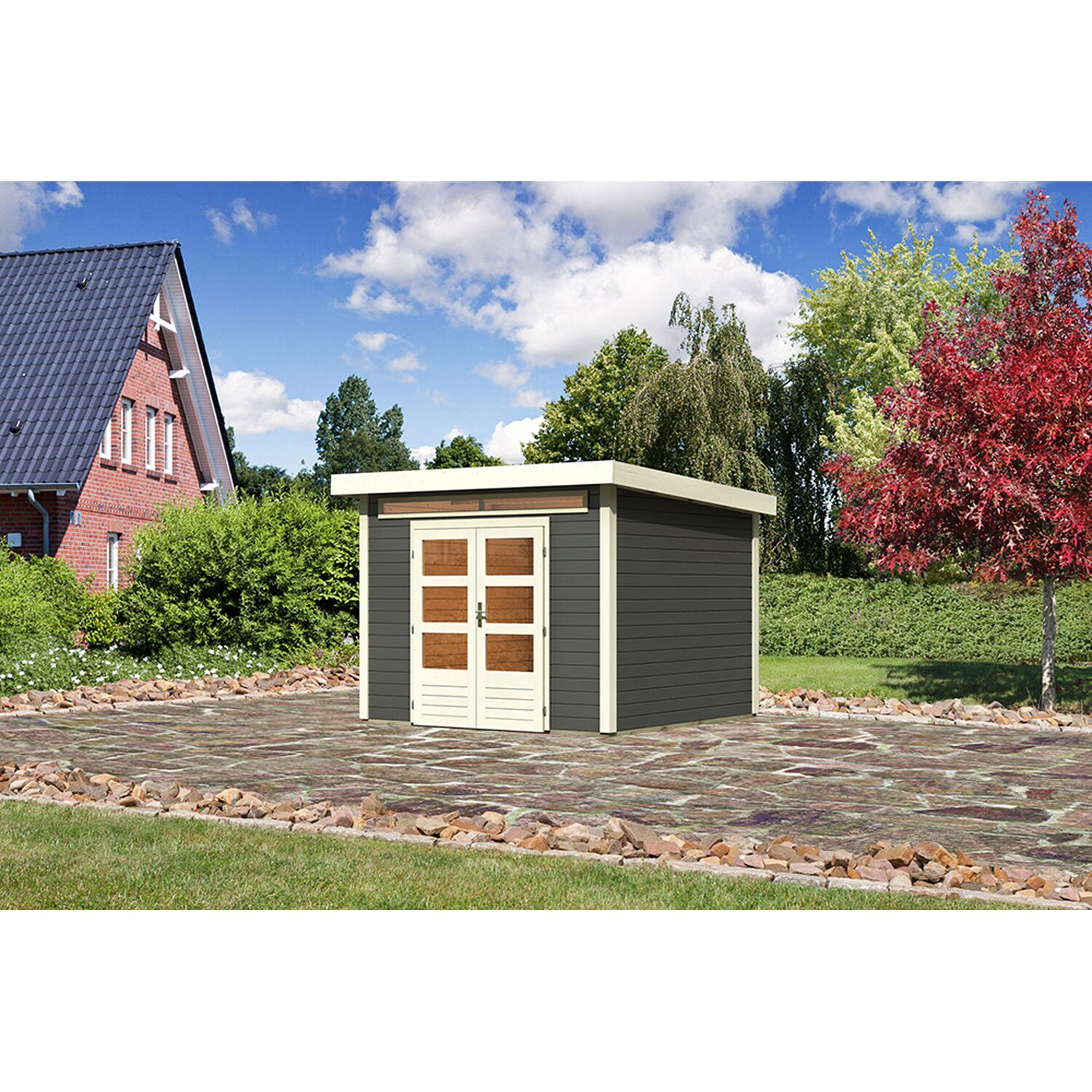 karibu holz gartenhaus luzern 2 terragrau mit boden u dachfolie bxt 270x270cm kaufen bei obi. Black Bedroom Furniture Sets. Home Design Ideas