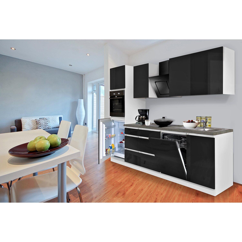 Respekta Küchenzeile 280 cm Grifflos Schwarz Hochglanz-Weiß kaufen ...
