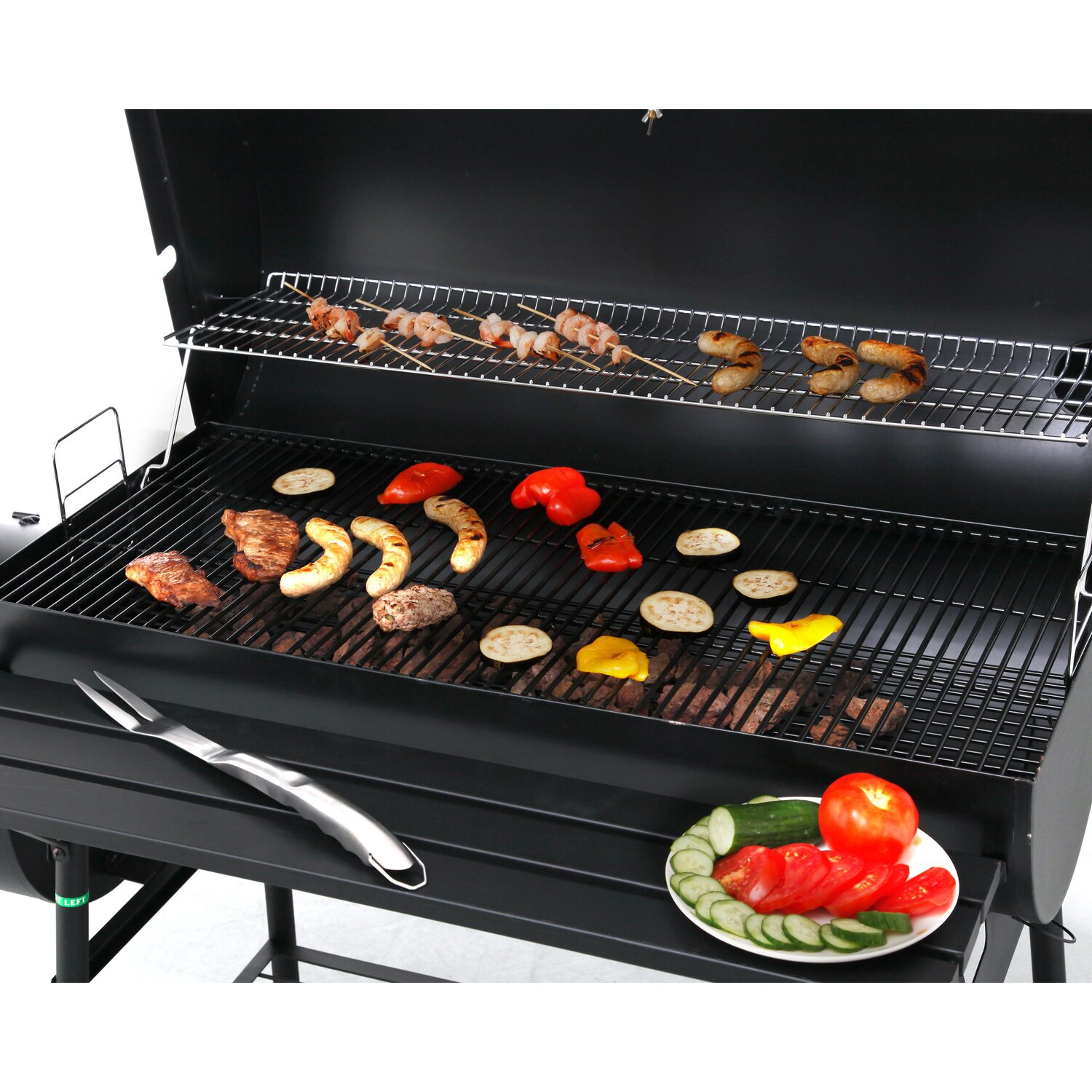 Tepro holzkohle grill smoker natchez mit seitlicher for Grill holzkohle