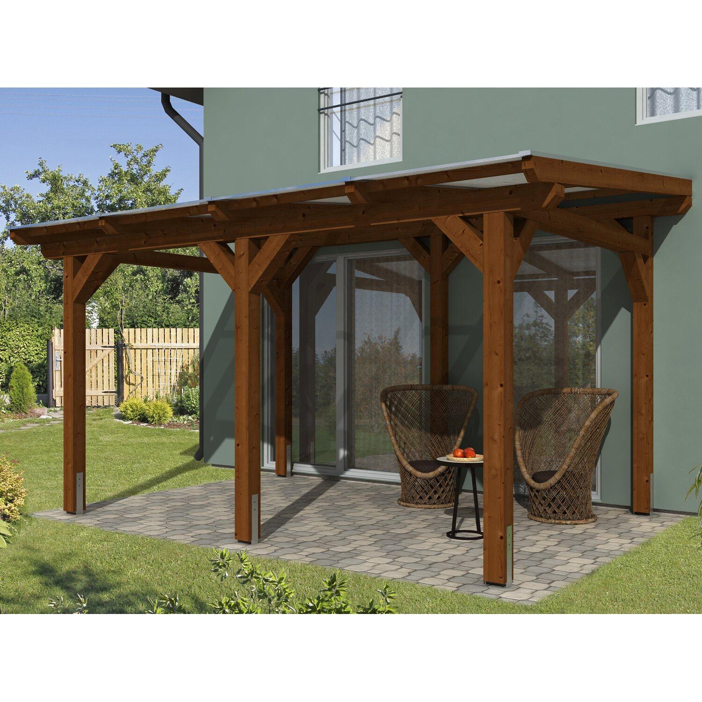skan holz terrassen berdachung siena 434 x 250 cm leimholz nussbaum kaufen bei obi. Black Bedroom Furniture Sets. Home Design Ideas