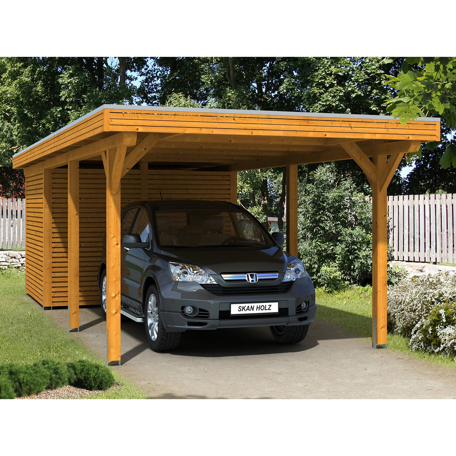 skan holz carport spessart 355 cm x 846 cm mit abstellraum eiche hell kaufen bei obi. Black Bedroom Furniture Sets. Home Design Ideas