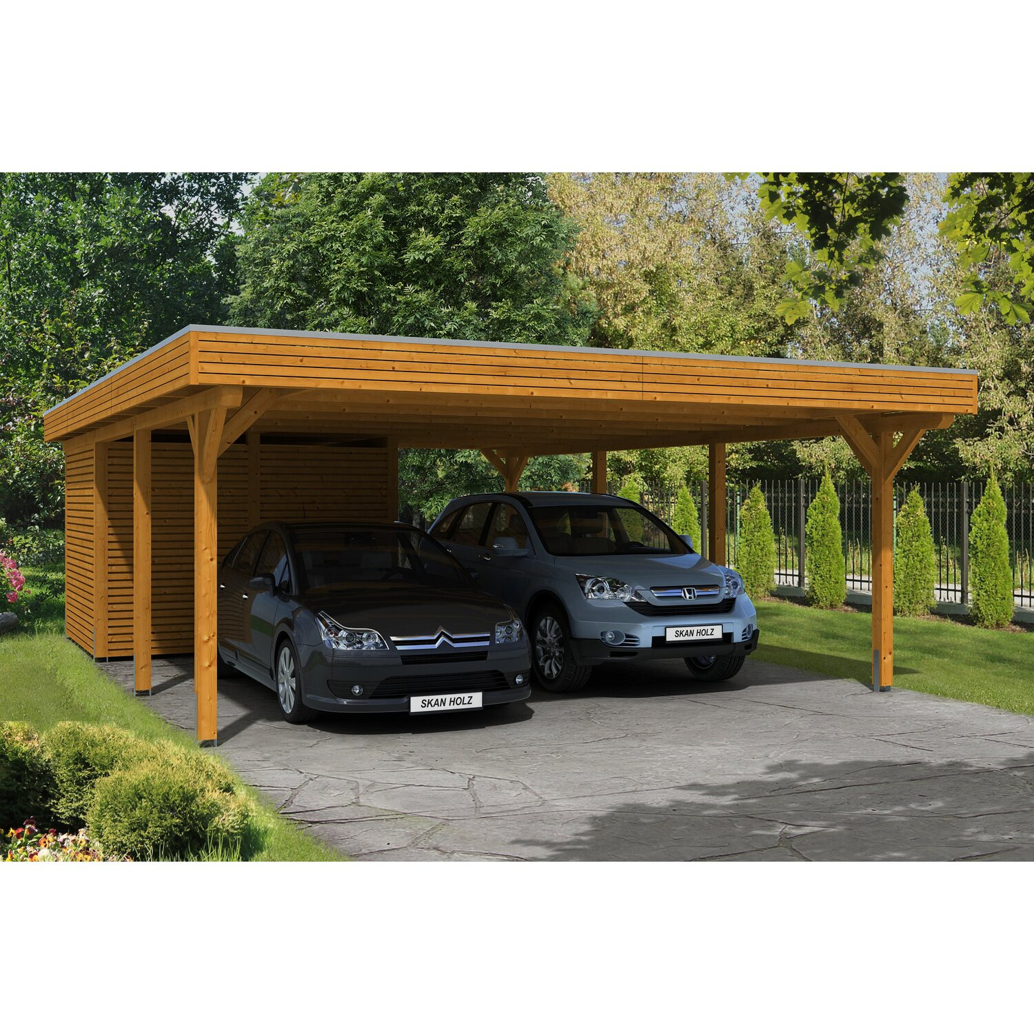 skan holz carport spessart 611 cm x 846 cm mit abstellraum eiche hell kaufen bei obi. Black Bedroom Furniture Sets. Home Design Ideas